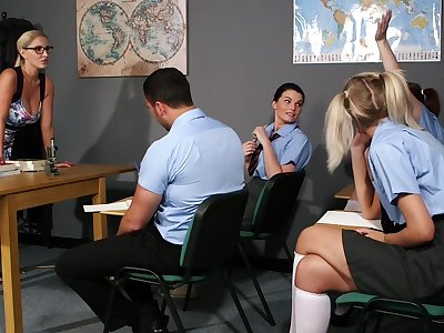Clothed females are ready to share some proper cock