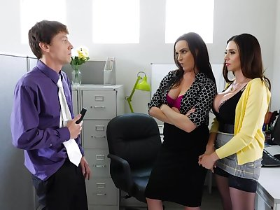 Two bisexual cougars fuck greenhorn right in the office