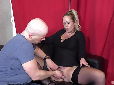 Cock riding and rough fingering for thick blonde babe Ashley