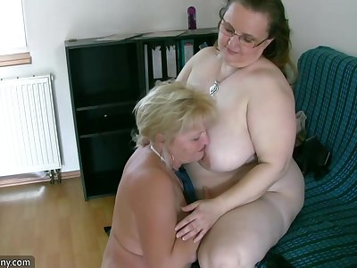 Very Chubby Chick Together with Mature Grandmother Suck Meat