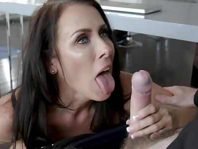 Fantastic busty shady in black lingerie Reagan Foxx doesn't take heed riding cock