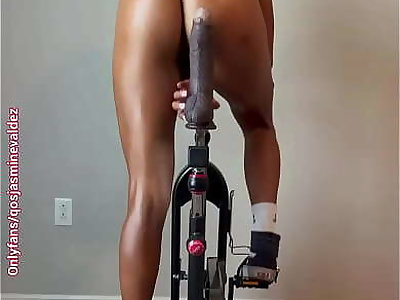 Amateur hot wife Jasmine Valdez rides her bike with a giant dildo and fucks her sloppy pussy.