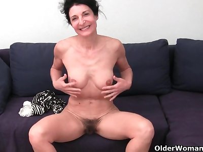 Bushy granny with large swollen vagina
