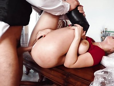 Superb Lena Paul working the married man's huge cock