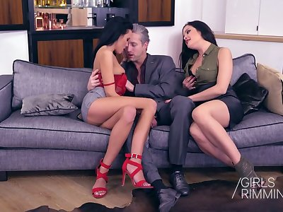 Two naughty babes give a rimjob and blowjob relating to four handsome steady old-fashioned