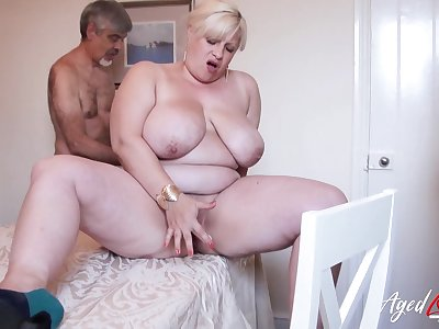 Horny friend is playing with hairy mature pussy be incumbent on busty blonde