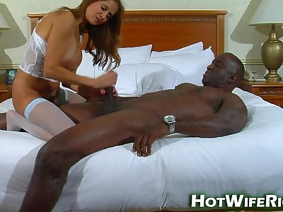 Super-Hot MILF Wife Takes Blackguardly Knights Huge Cock - She Does Him Real Good!