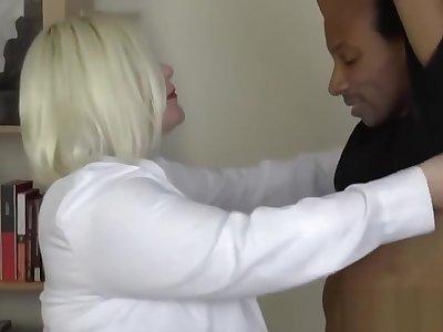 Doctor GILF with big tits impaled abysm on steadfast dark Hawkshaw