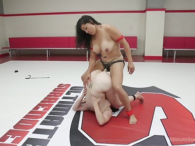 Gyrate fight lesbian oral sex and strap-on fantasy