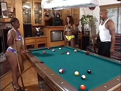 Sultry black sluts Arizona and Rikki Myst carry the to swell up a  hard cock in a triad akin to