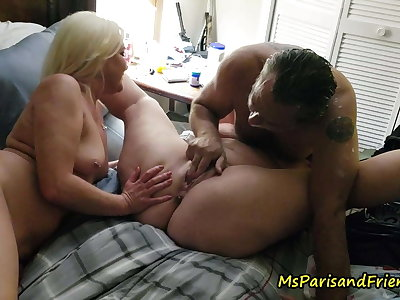 One Guy, Two Girls Drinking Pussy Shots and Squirting