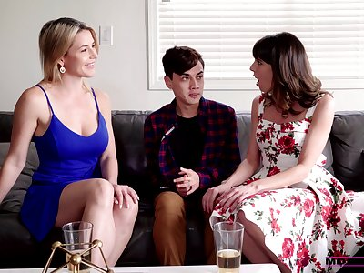 Stepmom and her sexy band together help 19 yo dude to overcome premature ejaculation