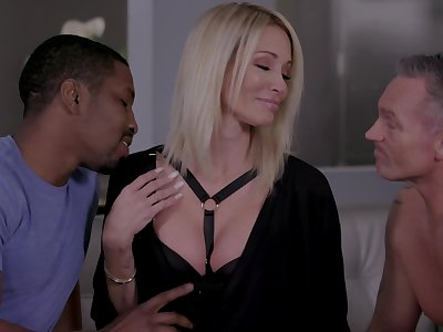 Insatiable blonde Jessica Drake gets put out with two lovers at intervals