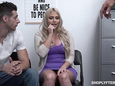 To punish curvy blonde MILF Christie Stevens policewoman fucks her doggy hard