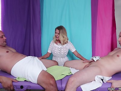 Energized blonde MILF, supreme trinity with three juicy dick