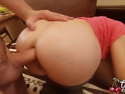 Big Ass MILF Blowjob Big Cock, Anal Sex coupled with Cum Eating in the Kitchen