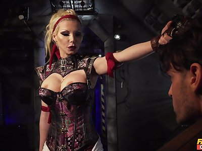 Evil cougar wants her male slave fully obedient to her festivity