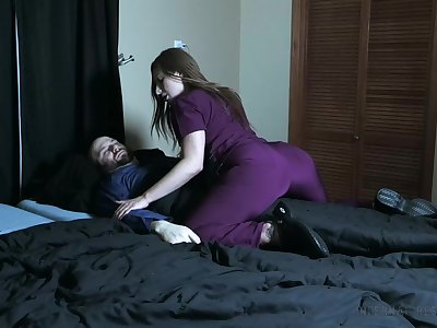 Wicked watch over pees on her patient and smothers him with her pussy