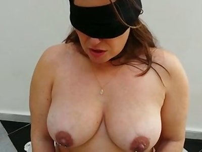 Submissive busty chubby wife in black stockings deserves some punishment