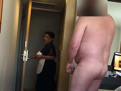 Fat tramp flashes his dick to the hotel maid