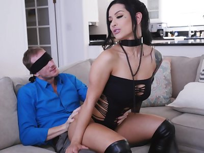 MILF yon pierced clit, insane couch surprise for the lucky soft-pedal