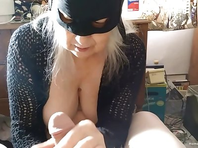 Closeup video of a dirty fat mature sucking a dick of her guy