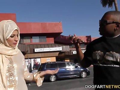 Black dude picks up Arab baby Nadia Ali who gives him a blowjob and rides huge cock