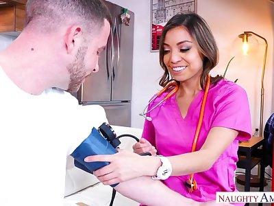 Seductive practice nurse helps with blue balls
