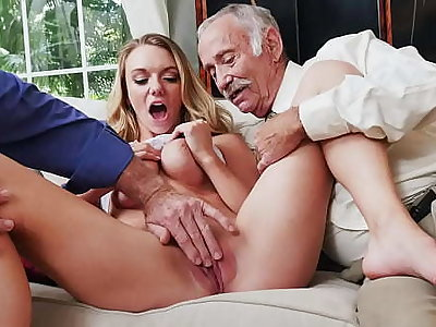 BLUE PILL MEN - Busty Blonde College Student Molly Mae Earns Her Keep Off out of one's mind Pleasing Old Men