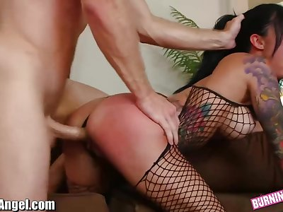 Busty sexpot in fishnet stuff Lily Lane is banged unconnected with aroused Michael Vegas
