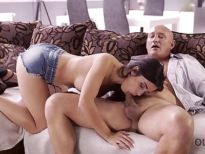 OLD4K. Naughty brunette tempts aged suppliant into drilling her butthole