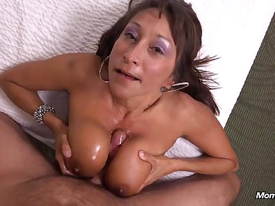 Gia 49 year MILF 2nd video - Big mature tits upon POV titjob & blowjob with cum upon indiscretion