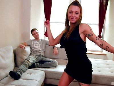 Tattooed MILF Ariana Skyy gives head and gets fucked in missionary