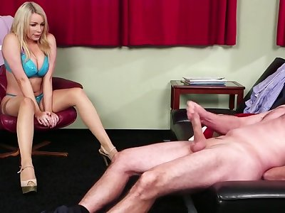 Sexy blonde babe Penny Lee watches a uncover ladies' jerking off