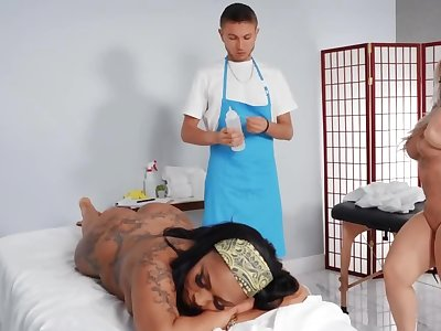 Janitor turns into a masseur and fucks two curvaceous goddesses