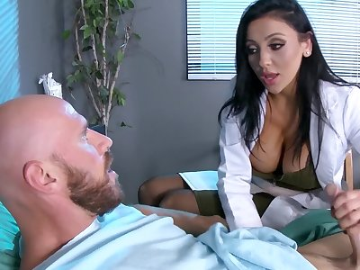 Male patient is made to feel much better thanks to busty doc Audrey Bitoni
