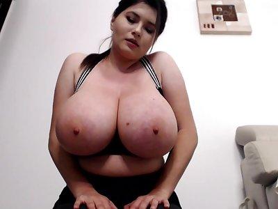 Bust workout - curvy brunette Milf shows off her bestial jugs